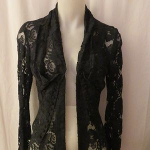 YIGAL AZROUEL BLACK SHEER LACE VICTORIAN BLOUSE XS